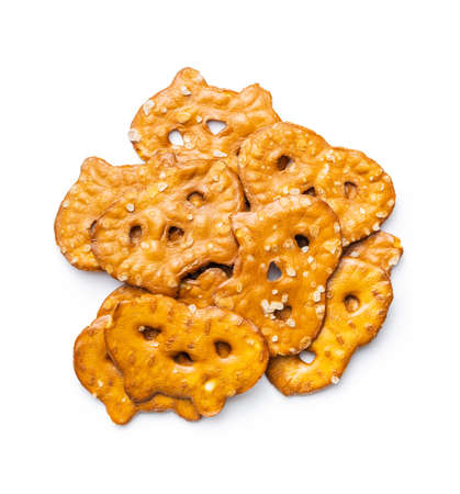 Salted mini flat pretzels isolated on white background. 版權商用圖片 - 161648182