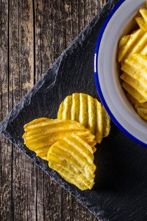 Crispy potato chips. Top view. 版權商用圖片