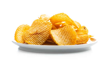 Crispy potato chips isolated on white background. 版權商用圖片 - 161695438