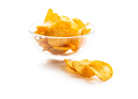 Crispy potato chips isolated on white background. 版權商用圖片 - 161695443