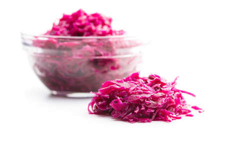 Red sauerkraut. Sour pickled cabbage isolated on white background. 版權商用圖片