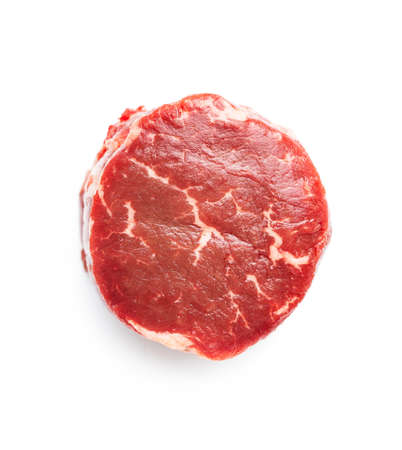 The raw beef meat steak isolated on white background.