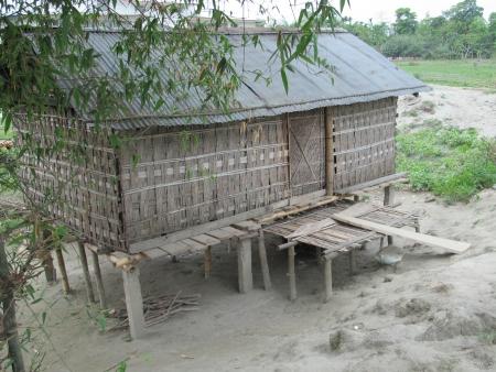 stilt house: Stilt house in Majuli, India s largest river island Stock Photo