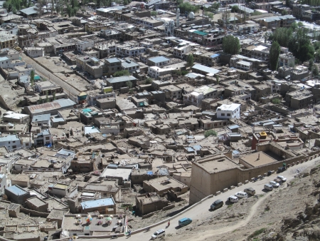 leh: high angle view of Leh, Ladakh