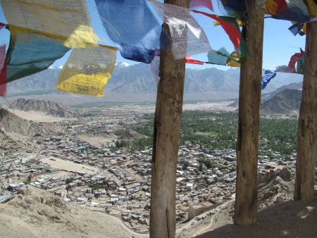 leh: prayer flags above Leh, India, from Tsemo Fort