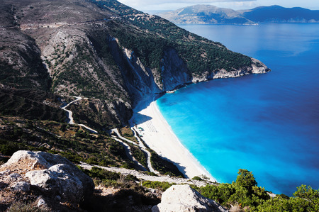kefalonia: Beach Mirtos, the most beautiful beach on island Kefalonia Stock Photo