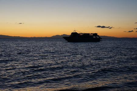 skala: Morning on the coast in Skala, Keafalonia, Greece Stock Photo