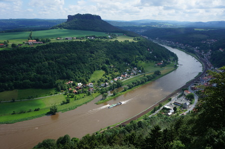 saxon: View from fort K?nigstein in Saxon Switzerland Stock Photo