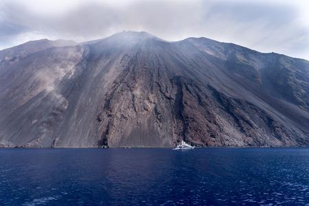 active volcano: Island and an active volcano in the Tyrrhenian Sea