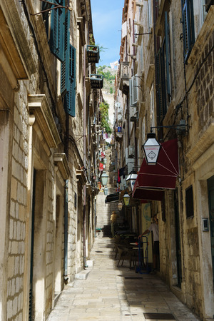 old town: Dubrovnik, narrow lane in the old town Stock Photo