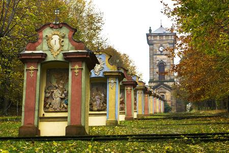 Histical calvary in Jiretin, Czech Republic