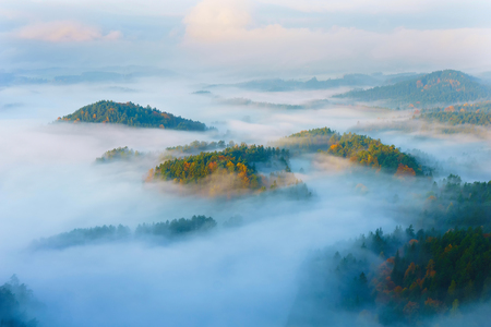 czech switzerland: Sunrise in the Czech Switzerland, Czech Republic