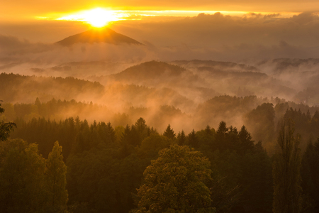 czech switzerland: Sunset from the Cross Mountain in Czech Switzerland Archivio Fotografico
