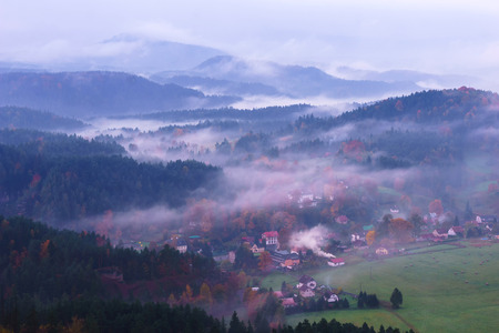 czech switzerland: Sunrise in the Czech Switzerland, Czech Republic