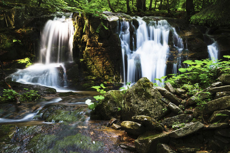 Ponikly Waterfall is a beautiful waterfall in the Jeseníky mountain range, Northern Moravia, Czech Republic