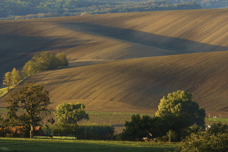 Moravian Tuscany is called a corrugated landscape near Kyjov, Moravia, Czech Republic
