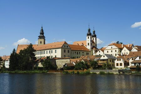 The historic core of Telc is a valuable urban conservation area Фото со стока
