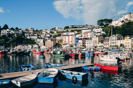 Colorful fishing boats in the seaport of Luarca, Asturias, Spain. Tourist concept