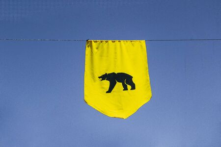 yellow bear banner with blue sky in the background. Medieval concept