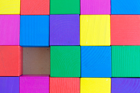 chromatic colour: Childrens toy - multicolored cubes (one cube is not enough) of roughly  processed wood (rough surface)