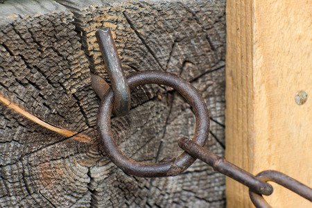 Steel chain of iron corroded by rust. Very old. Strong influence of water. Much  time was on the outdoor.