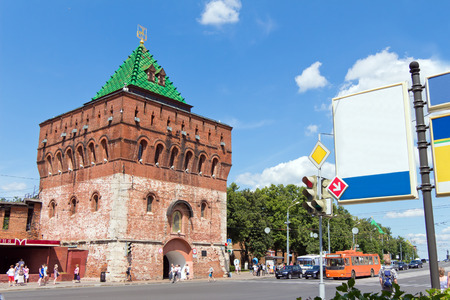 Nikolskaya tower (Nicholas), the Kremlin, Nizhegorodskiy district, Nizhny Novgorod, Russia. Tower and wall of red brick. A tourist attraction. The building is old and vintage. Editorial