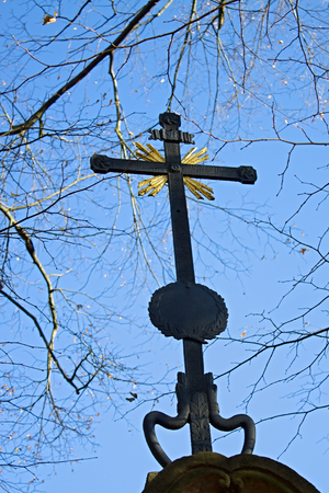 coutryside: religion monuments with cross in coutryside in branches