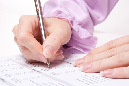 fill: Woman filling the form on job interview