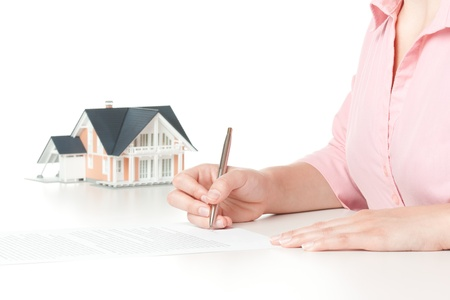 underwrite: Woman confirm mortgage contract (estate agency client sign contract) Stock Photo