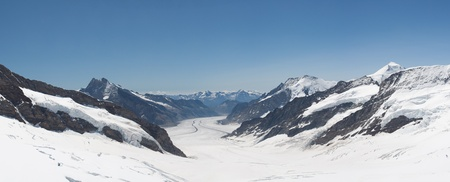 Grosser Aletschgletcher (glacier) from Jungfraujoch (Jungfrau saddle), Alps, Switzerland photo