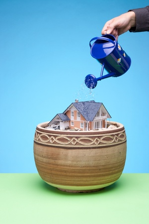 foster: Dream about own house concept - man cultivate (water) own house in flowerpot and believe its growth. Blue and green background.