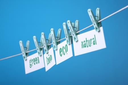 buzzwords: Greenwashing concept with buzzwords green, bio, eco and natural