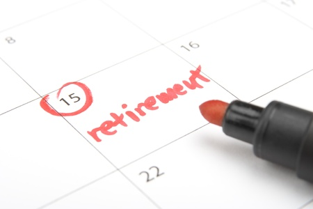 the retirement: Look forward retirement payday - retirement written in calendar and highlighter Stock Photo