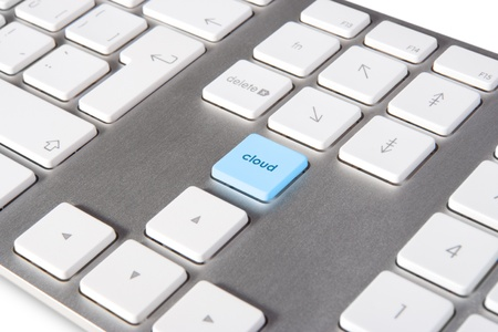 Keyboard with keypad cloud placed in blank space on standard keyboard - cloud computing concept photo