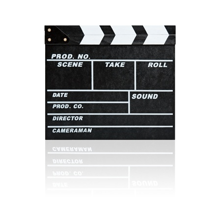Film Slate (Clapboard) isolated on white background with clipping path photo