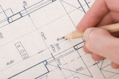 Architect drawing his project of inter Stock Photo - 11850298