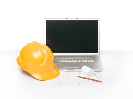 superintendent: Blueprint of architecture, protective helmet and laptop