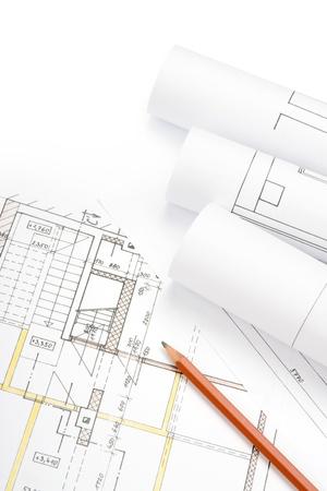 Studio shot of architecture blueprints Stock Photo