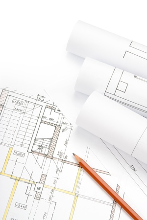 reconstruct: Studio shot of architecture blueprints Stock Photo