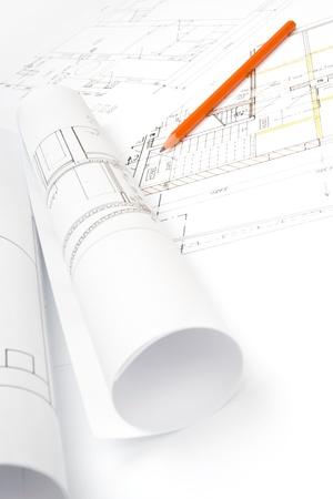 superintendent: Studio shot of architecture blueprints Stock Photo