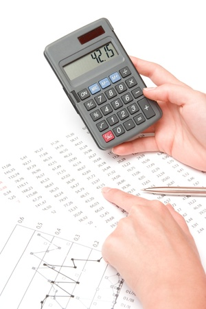 Concept of woman business analyst - hand with calculator, sheet and graph photo