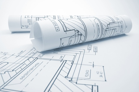 engineering plans: Blueprints of engineering component - blue tone Stock Photo