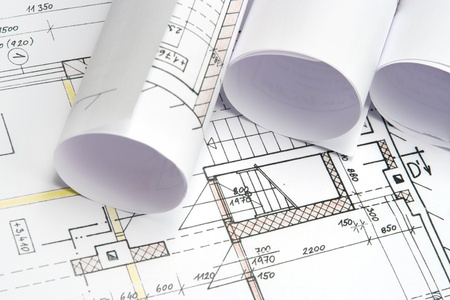 superintendent: Studio shot of architecture blueprints Stock Photo
