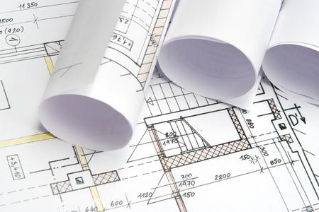 plan van aanpak: Studio shot van de architectuur blauwdrukken