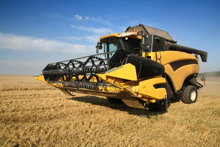corn fields: Agriculture - Combine (harvester) on the field Editorial