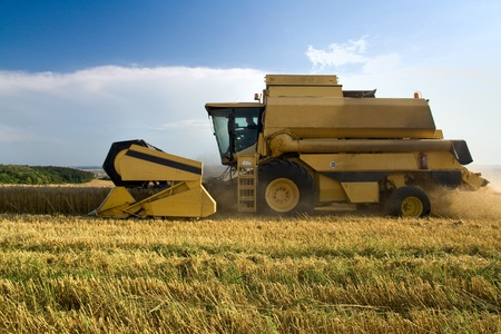 cultivator: Agriculture - Combine (harvester) on the field Editorial
