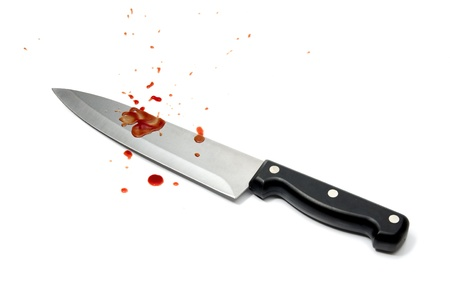 murdering: Aggression - bloodstained knife on white background
