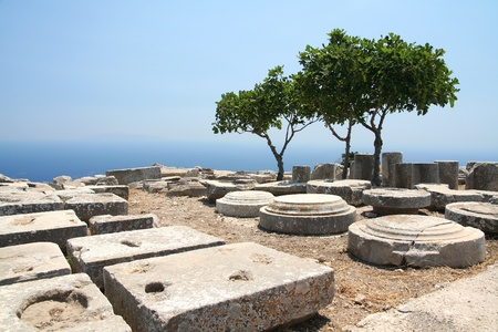 thera: Archaeological dig of  Ancient Thera on Greek island Santorini