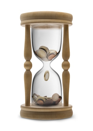 money time: Time is money (Time management) - sandglass filled Euro money