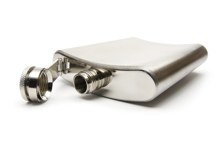 expire: Cheers! - Empty hip flask for alcohol on white background